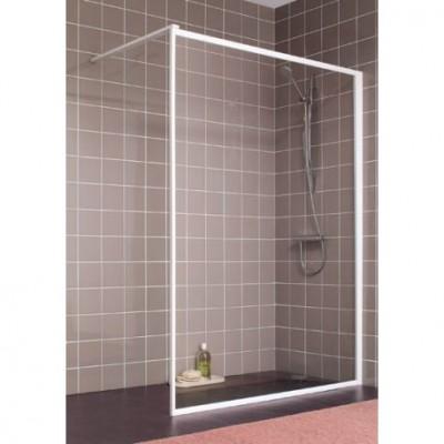 Paroi de douche ATOUT 2 fixe réversible 70cm blanc verre transparent LEDA