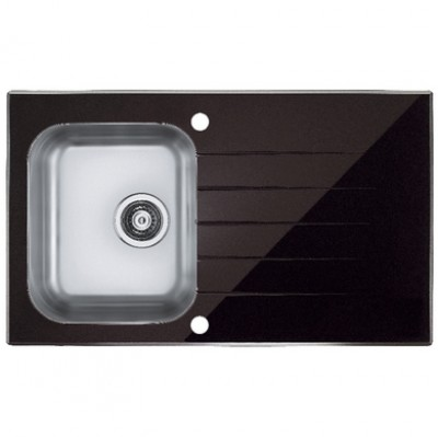Evier Glasix inox verre noir 1 bac 86x50cm