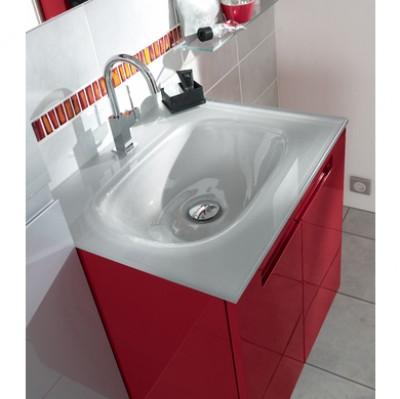 Plan verre INFINY / STYLE blanc 1 vasque largeur 80cm