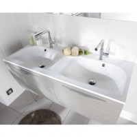 Plan INFINY / STYLE résine blanc 2 vasques largeur 120cm