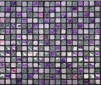 Mosaïque verre violet support tramé 28.8x28.8cm