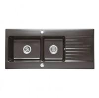 Evier GINGER noir 2 bacs 116x53cm