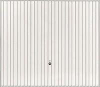Porte de garage métal EUROPRO motif 122 aspect PEARLGRAIN 2000mm 2375mm basculante débordante blanc