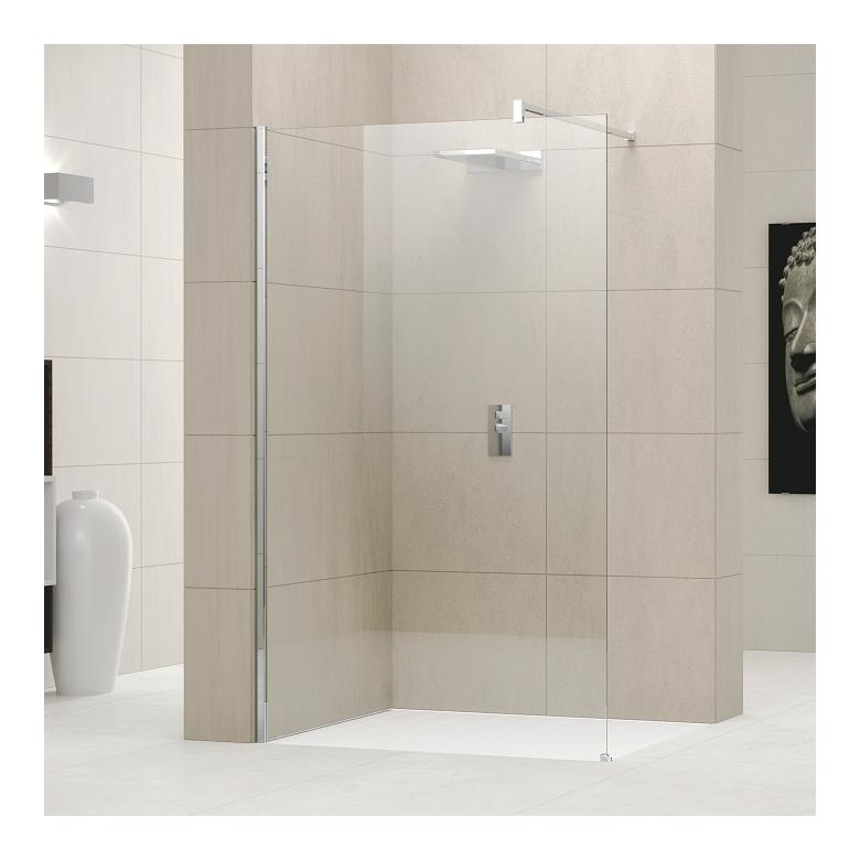 Paroi de douche fixe giada h 120 cm vitre transparent chrom de novellini d - Paroi fixe douche 120 ...