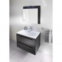 Meuble sous-vasque gain de place INFINY graphite 2 tiroirs largeur 60cm