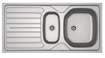 Evier inox lisse REN 651 - 90x102 - 1000x500mm - Réversible - Vidage manuel avec trop plein - 2 percages pour robinetterie FRANKE