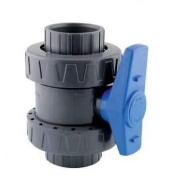 Vanne PVC double union diamètre 63mm AQUALUX