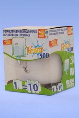 Essuie-tout multiusage avec recharge distributeur vesta 500 blanc