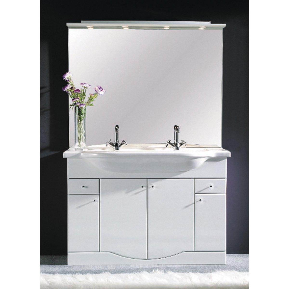 Meuble plan au sol 3 portes 2 tiroirs 72cm blanc slim for Meuble 3 portes blanc