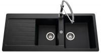 Evier cri INDIANA noir 2 cuves 1 égouttoir 116x42,9cm BASIC SEGMENT