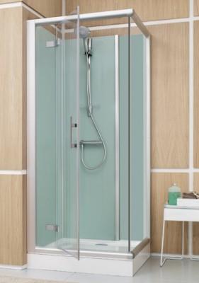 douche ferm e access confort 100x80cm angle porte pivotante face verre transparent gris leda. Black Bedroom Furniture Sets. Home Design Ideas