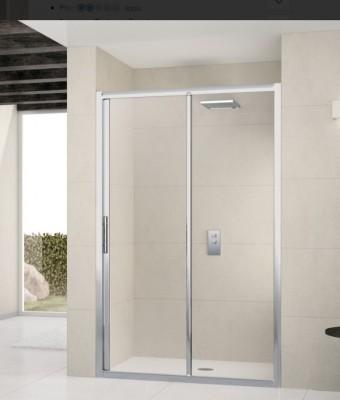 Paroi de douche LUNES 2P coulissante + fixe 120cm en verre transparent, profilés blanc/chromé NOVELLINI
