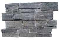 Parement  ardoise sur ciment GJ027 15x60cm épaisseur 25-35mm noire BREZINS