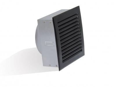 Bouche de soufflage diamètre 125mm façade 170x170mm noire DMO