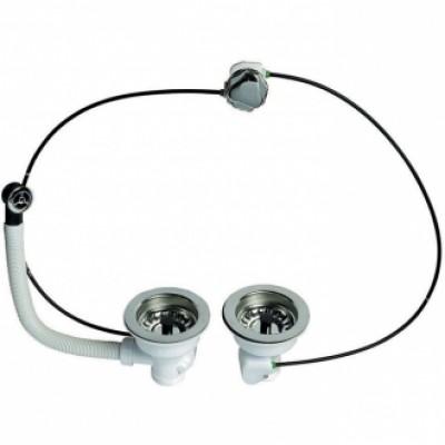 Bonde d'évier diamètre 90mm 2 bacs commande à cable WIRQUIN PLASTIQUES