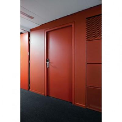 Bloc-porte prépeint coupe-feu 1/2 heure bois exotique rouge 204x73cm huisserie 67x57 droite poussant pêne dormant et demi-tour FONMARTY