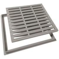 Grille de sol avec cadre 40x40cm gris NICOLL