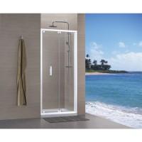 Paroi de douche CONCERTO accès de face escamotable 80x80cm blanc verre transparent ALTERNA
