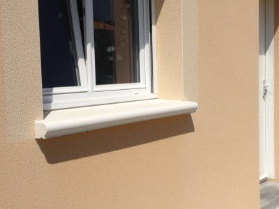 Appui de fenêtre monobloc lisse 90/100cm largeur 39cm blanc MARLUX