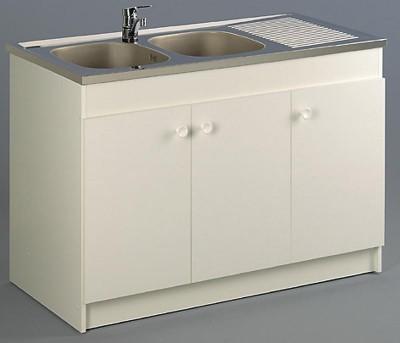Meuble sous-évier LEADER 120x80x8cm, 3 portes, blanc AQUARINE