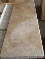 Margelle 1 bord rond travertin naxos vieilli 61cm épaisseur 3cm ARCARMA NATURAL STONES
