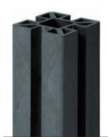 Poteau aluminium anthracite 80x80x211cm 4 rainures UNIVERSO BOIS