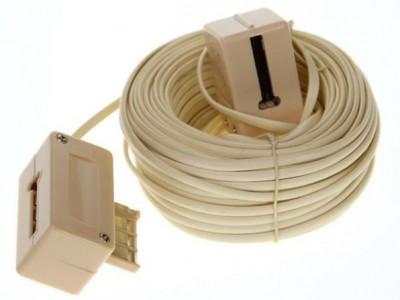Rallonge PTT Mâle/US Femelle 5m blanc lisse METRONIC
