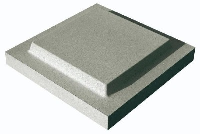 Chapeau pilier plat double couronnement 50x50cm gris WESER