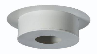 Plaque de finition ronde blanc hauteur 120 conduit attente diamètre 150 inox-galva POUJOULAT
