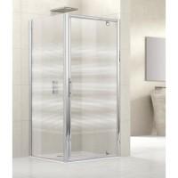 Porte de douche LUNES G pivotante 96 verre transparent blanc chromé NOVELLINI