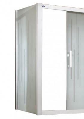 Paroi de douche JAZZ fixe réversible 70cm blanc, verre transparent LEDA FRANCE