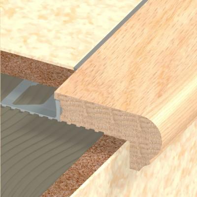 Nez de marche bois lisse chêne brut 12.5mm longueur 1m