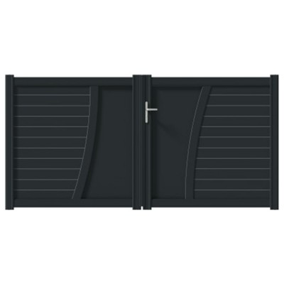 Portail aluminium EMAGNY Prestige gris 7016 137x300cm JARDIMAT