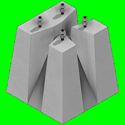 Socles de candélabre entraxe 200x200 hauteur 65cm 440kg 5/8m THEBAULT