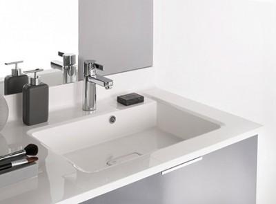 Plan vasque 105 moulé à gauche blanc