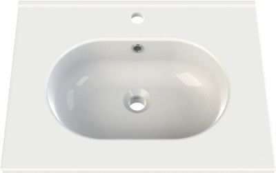 Plan-vasque céramique 60cm seducta 2 blanc 1 vasque centrée