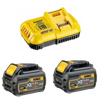 Batterie FLEXVOLT 18/54V 2/6Ah pack 2 + chargeur BLK - STANLEY BLACK&DECKER FCE
