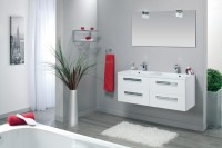 Meuble sous-vasque SEDUCTA 120cm 4 tiroirs blanc brillant ALTERNA