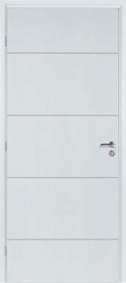 Bloc-porte alvéolaire gravé Graphik Ketch prépeint blanc - Poussant gauche - Largeur 830 mm RIGHINI