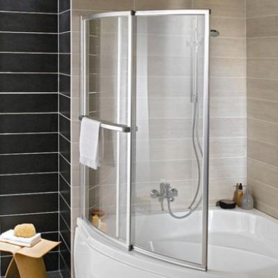Écran de baignoire OLA 2 volets relevables verre de sécurité argent largeur 123cm hauteur 140cm