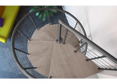 Escalier symphonie gris bois clair diamètre 120cm hauteur 274cm FONTANOT