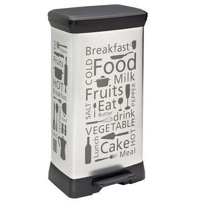 Poubelle à pédale top rectangulaire Kitchen Silver 50L CURVER