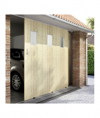 Porte de garage coulissante 03 pvc sapin hublots for Garage st herblain bourg