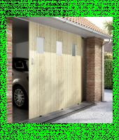 Porte de garage coulissante (03) PVC sapin hublots 200x240cm droite