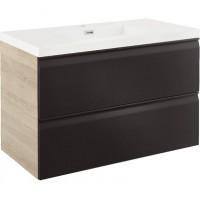 Meuble de salle de bains YTRAC noir bois largeur 90cm résine 2 tiroirs