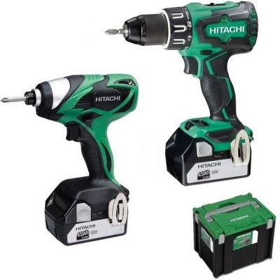 Lot perceuse + visseuse + radio 4A HITACHI POWER TOOLS
