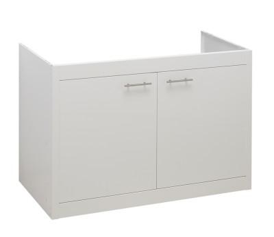 Jeu de 2 portes en métal thermolaqué blanc glacier pour le meuble CLIPMETAL en 120 cm. 2 Poignées MODERNA
