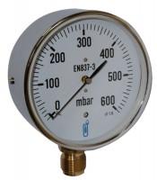 Manomètre 0 à 6 bars raccord vertical 1/2 diamètre 100mm
