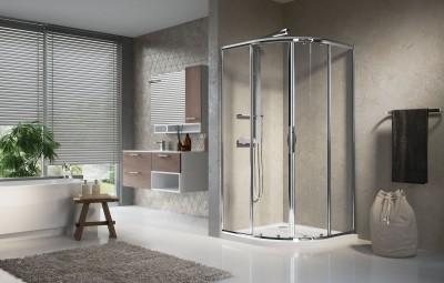Paroi de douche LUNES R coulissante + fixe 80cm verre transparent chromé NOVELLINI