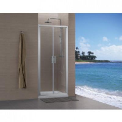 Paroi CONCERTO accès de face à 2 portes 90 argent verre trasparent